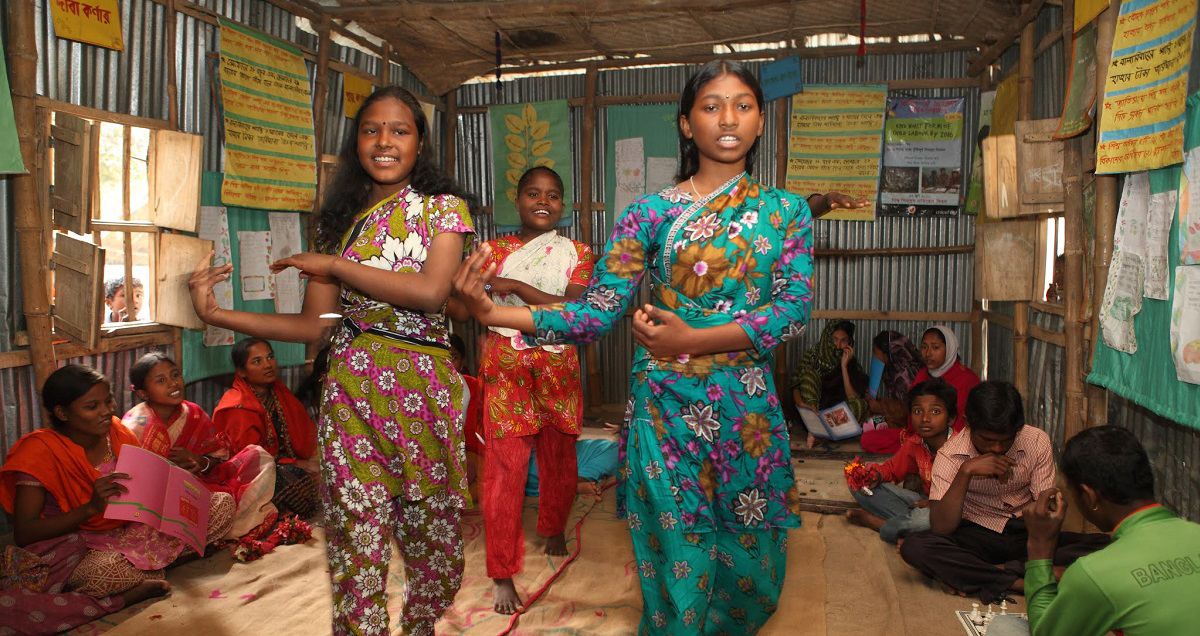 Girls in a BRAC youth empowerment program