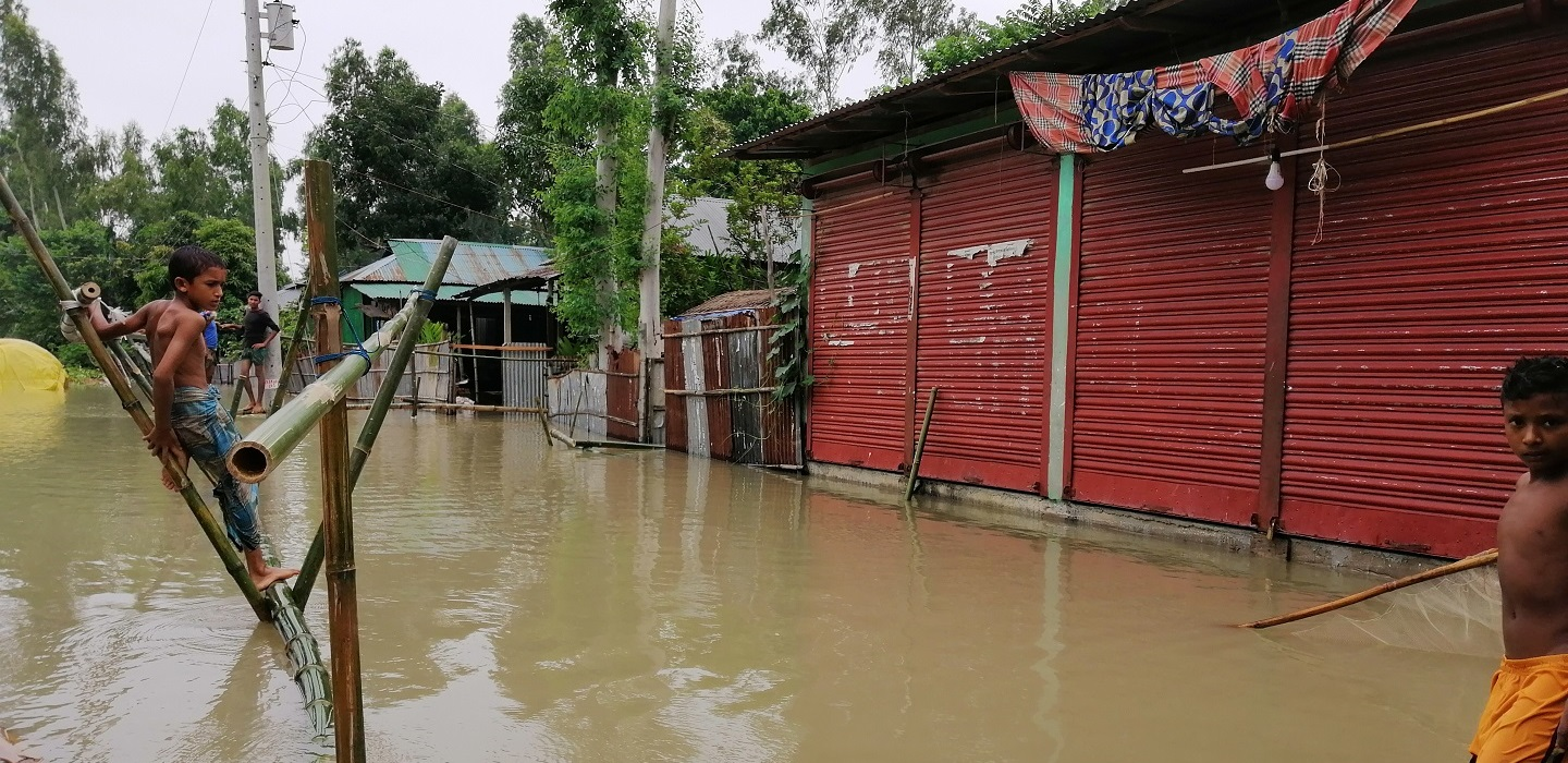 A flood in Bangladesh after severe rains.