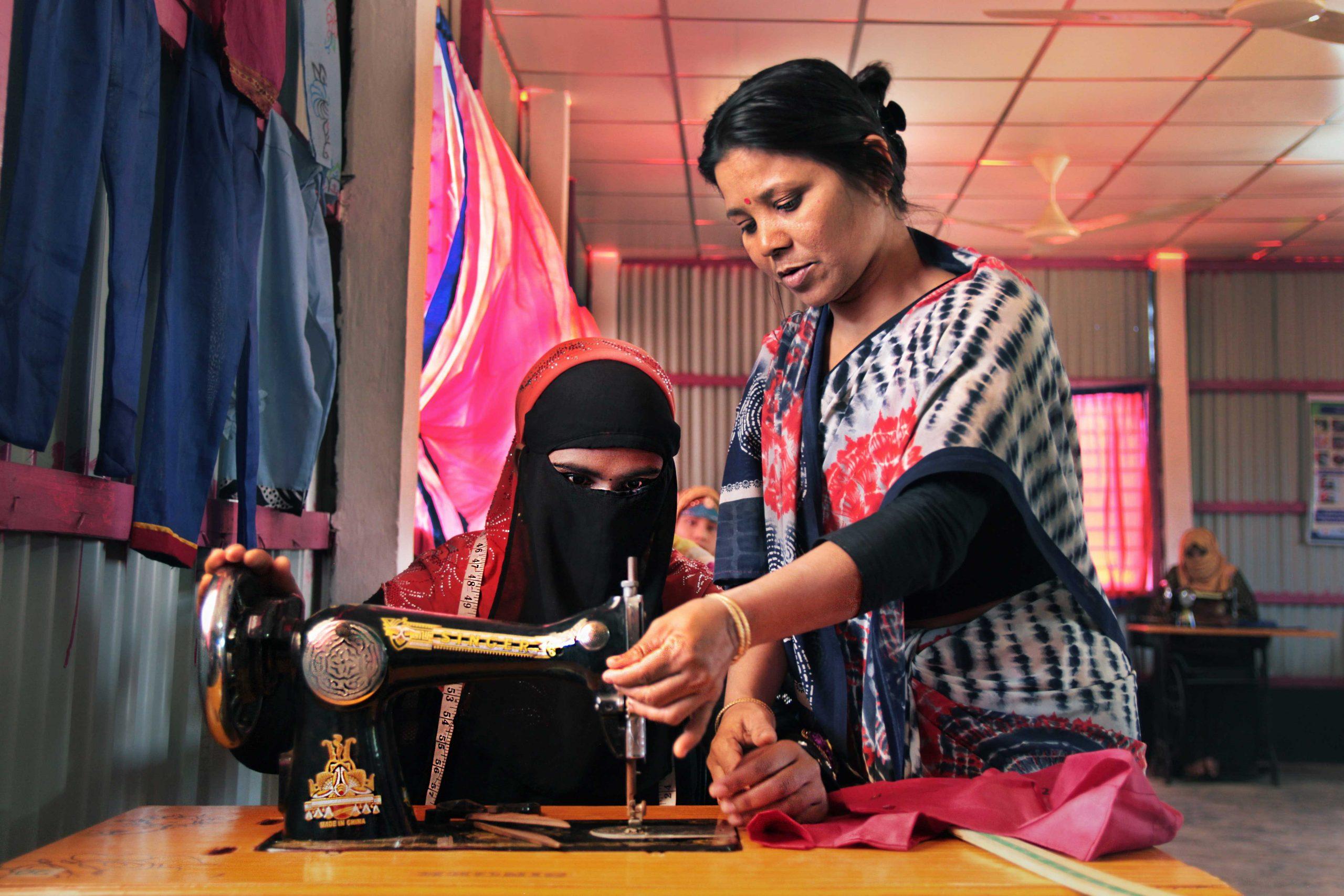 Women at an artisan training center in Cox's Bazar, Bangladesh