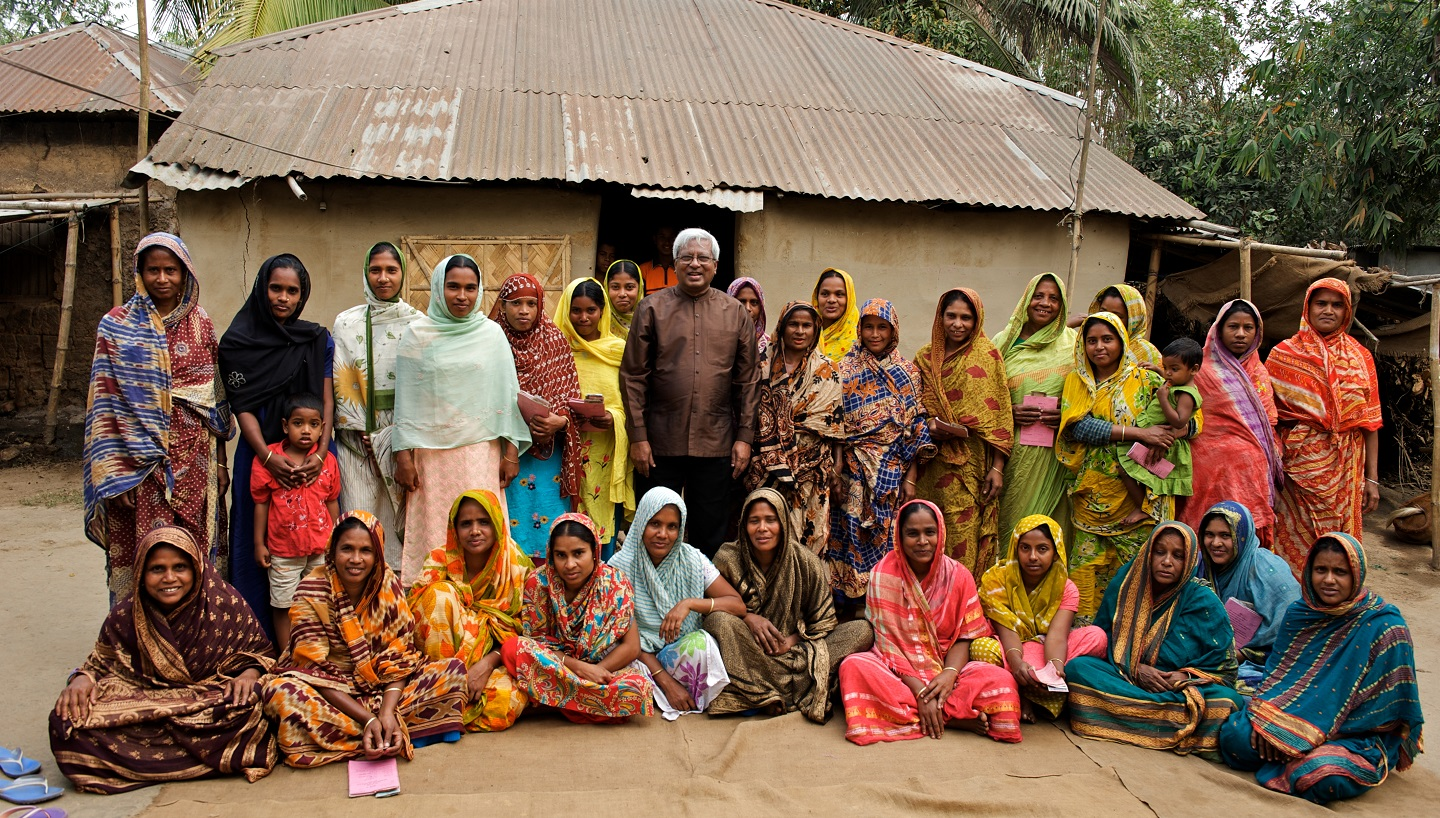 Sir Fazle with a group of women in Bangladesh.