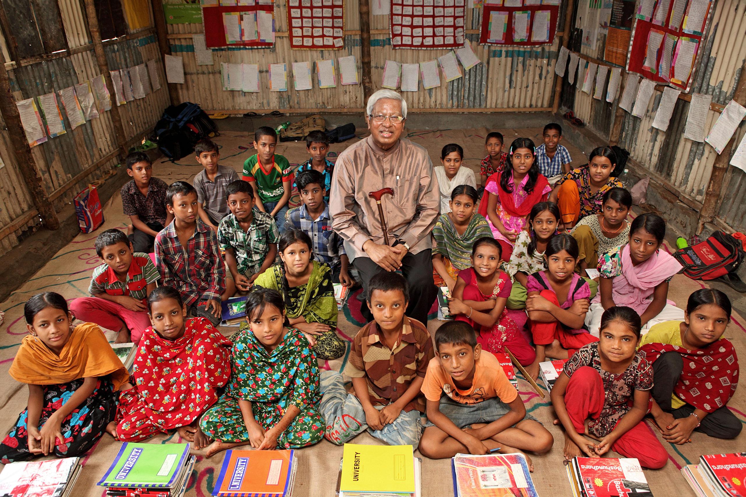 Sir Fazle with children