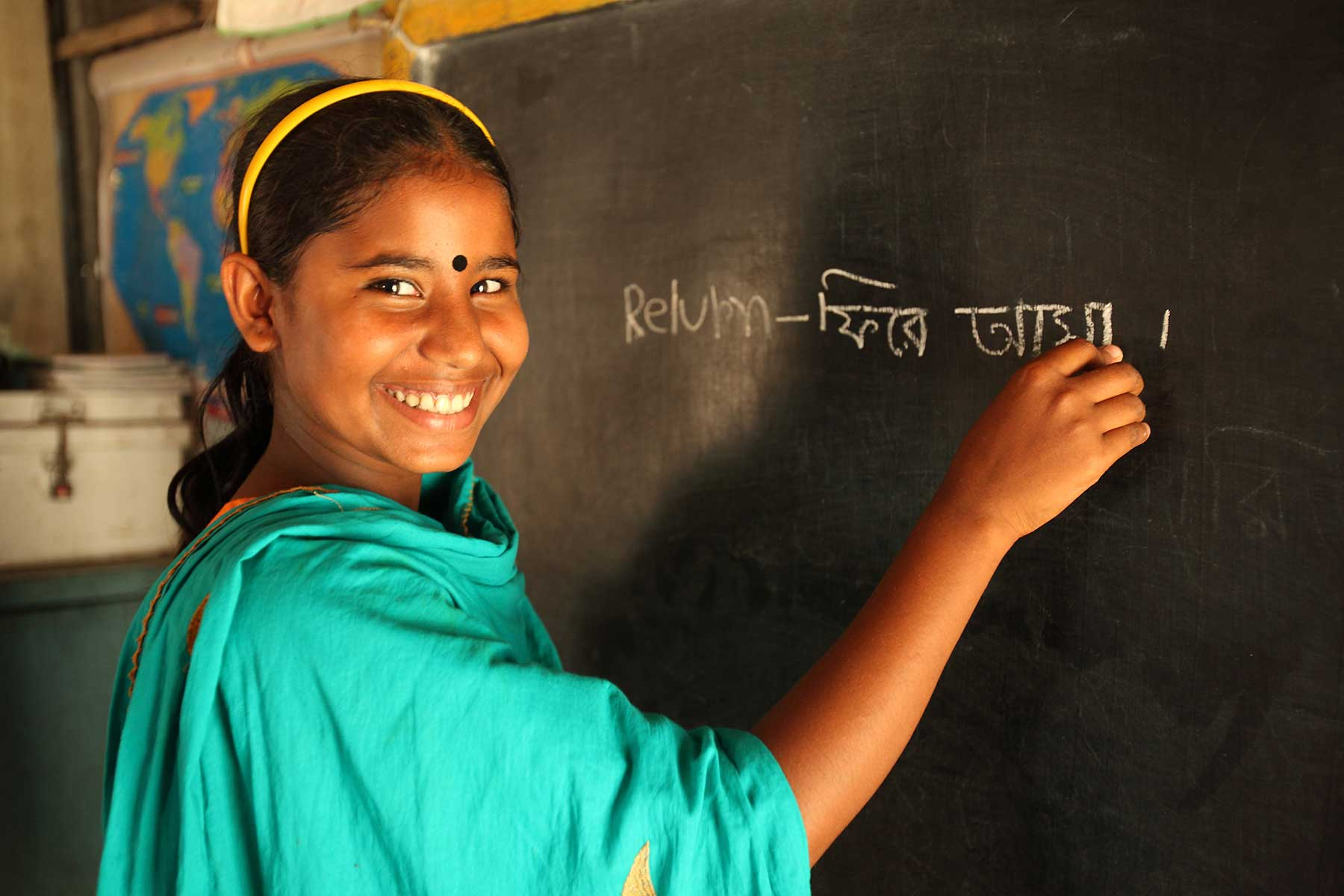 Girl in a school in Bangladesh