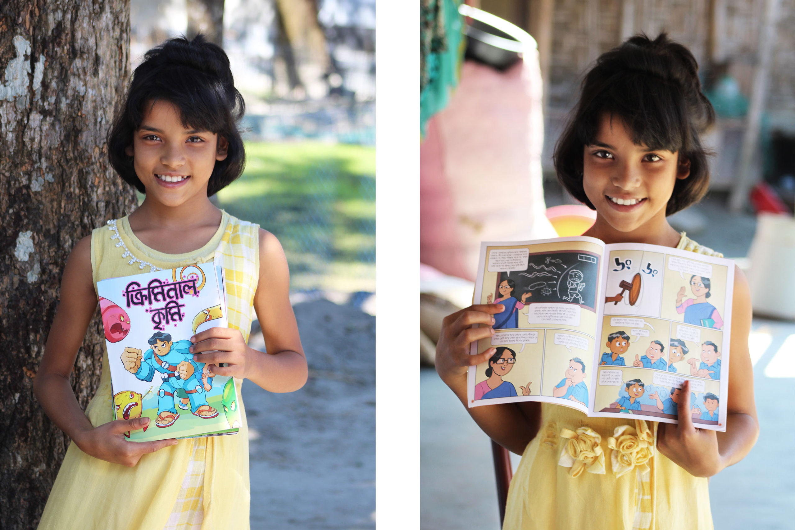 Tanisha holds a comic book with messages on deworming