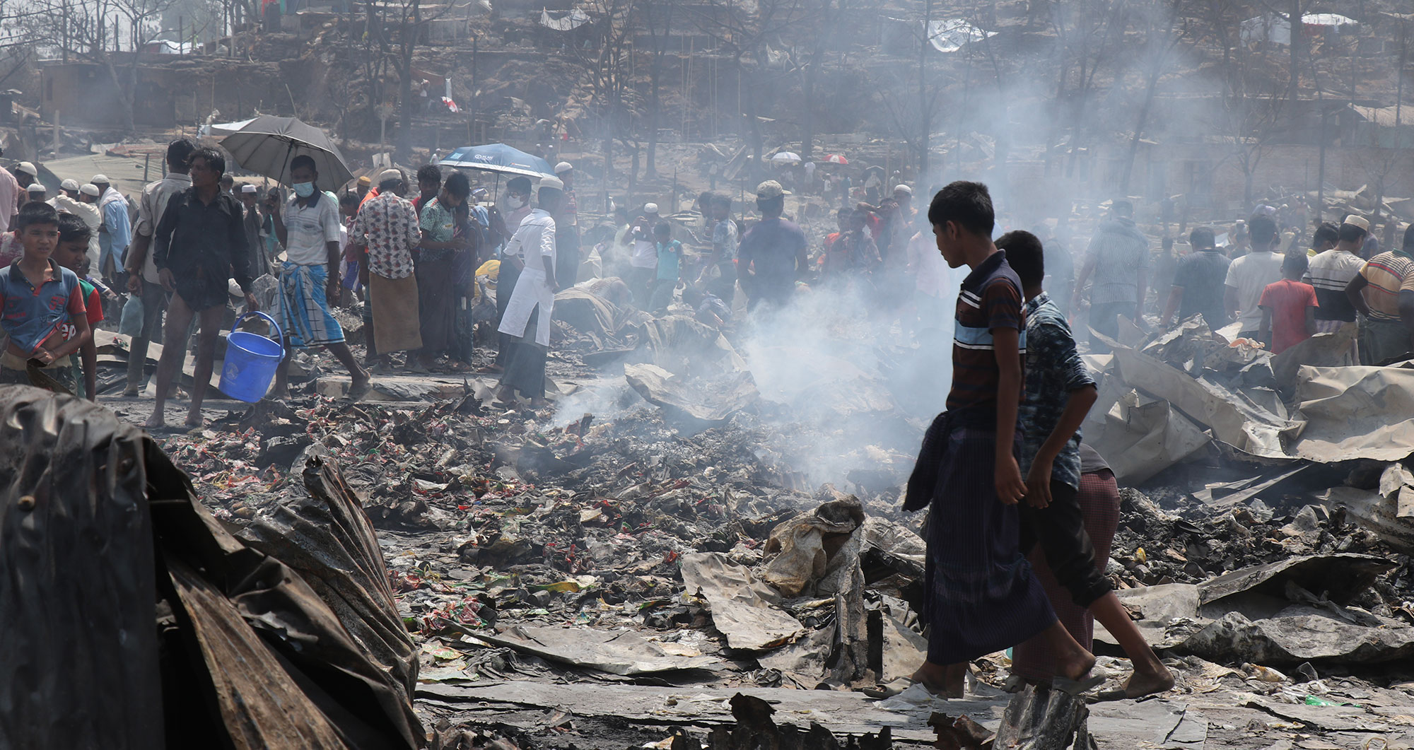 The aftermath of a fire in the Rohingya refugee camps