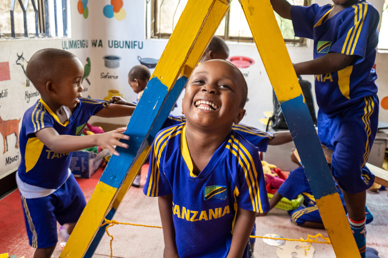 Anas plays at a Play Lab in Tanzania.