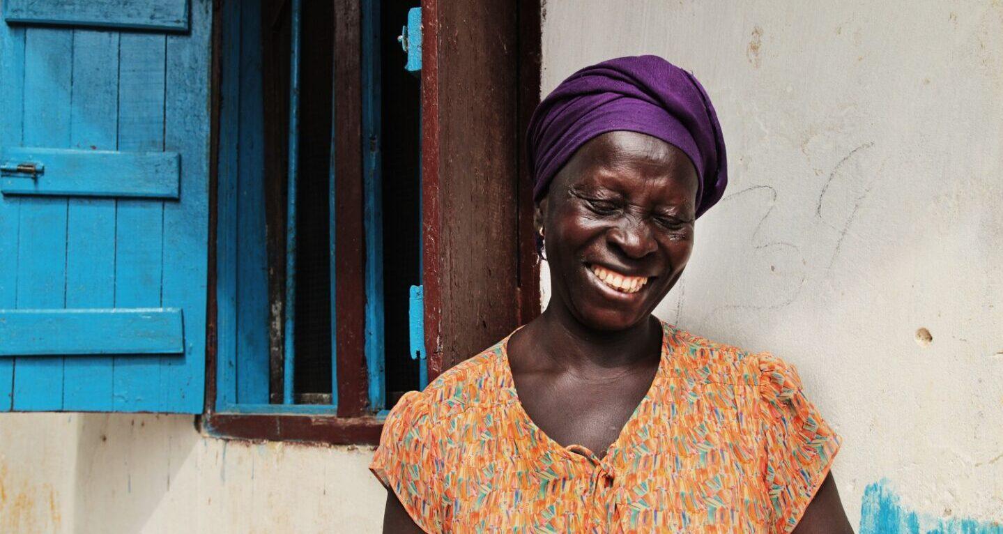 A farmer in Liberia smiles