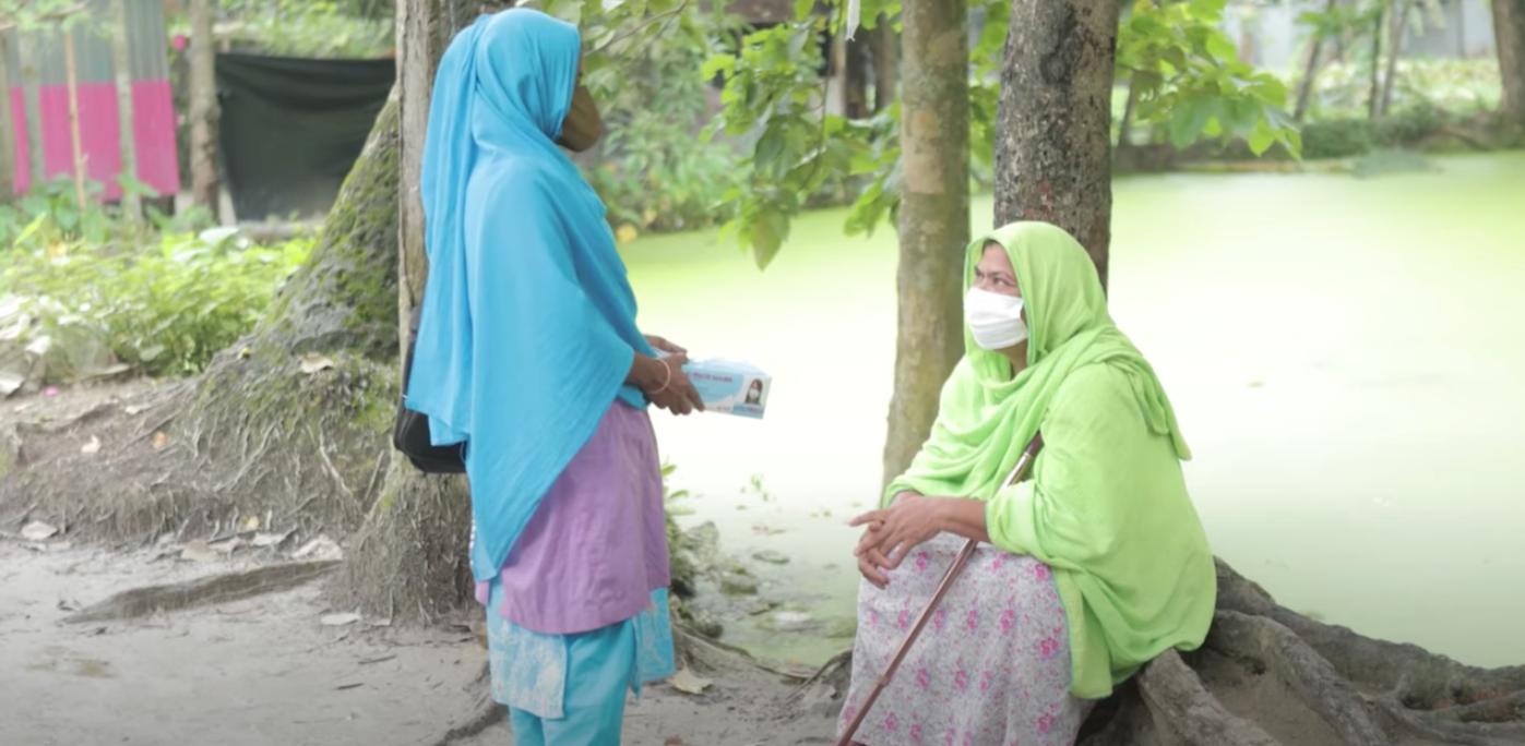 Hazera distributes masks in remote villages across Bangladesh.